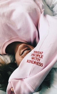 Treat people with kindness red embroidered words on light/soft pink bell sleeve sweatshirt Go Feminin, Styles Harry, Mode Streetwear, Fitness Style, Treat People With Kindness, Sweat Shirt, Diy Sweatshirt, Harry Styles Sweatshirt, Athleisure