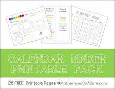 Calendar Binder free printable pack