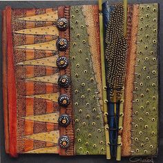 Vicki Grant 13061 - Botanical Series Formatting Porcelain and mixed media on slate   16 x 16 in