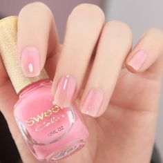 simple and elegant pink nails