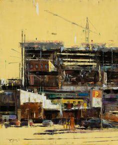 Image of Robert Spooner Contemporary Landscape, Urban Landscape, Landscape Art, Architecture Sketchbook, Architecture Art, Industrial Paintings, Seascape Art, Building Art, City Art