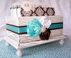 Wedding Guest Book Box  Aqua Blue and Brown by itsmyday on Etsy