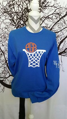Long Sleeve Monogram Basketball Shirt by JessicaJosMonoNMore on Etsy https://www.etsy.com/listing/265394155/long-sleeve-monogram-basketball-shirt
