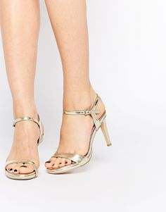 27cf2c5b9d92 Faith Libertine Gold Kitten heel Barely There Sandals at asos.com