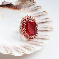 ruby - elegant, adjustable, statement, seed beads, toho, glass cabachon, gemstone, red, gold, beaded ring, gift, for her, summertime via Etsy