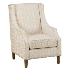Share and Save $5 Off Any Order Over $99. (excludes a few products) Jofran Quinn Accent Chair in Ivory Velvet-Like Fabric w/ Nailhead Trim #dynamichome
