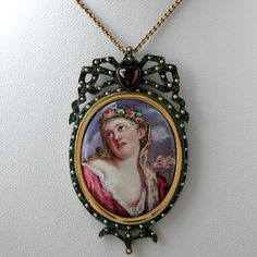 Antique Georgian Gold Garnet, Emerald, Seed Pearl and Enamel Pendant