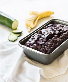 Chocolate zucchini banana bread is dense and moist with all its ingredients. | www.ifyougiveablondeakitchen.com