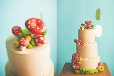 cute mushroom cake from a Super Mario themed wedding, love the gold coins garland too! Pretty Cakes, Cute Cakes, Beautiful Cakes, Amazing Cakes, Toadstool Cake, Mushroom Cake, Super Mario Cake, Woodland Cake, Woodland Theme