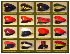 Cavalry No. 1 & No.2 Dress Caps of from L/H to R/H starting top Left - 1st Queen's DG, Royal Scots DG, 4th/7th Royal DG, Vth Royal Inniskilling DG, The Queen's Own Hussars, The Queen's Royal Irish Hussars, 9th/12th Royal Lancers(both Officer's & OR's), The Royal Hussars, 13th/18th Royal Hussars, 14th/20th King's Hussars, 15th/19th King's Royal Hussars, 16th/5th Queen's Royal Lancers, 17th/21st Lancers, Royal Tank Regiment(Bandsman's) & Royal Armoured Corps. 1969-1993