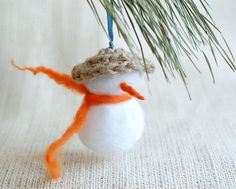 Snowman Christmas ornament felted wool white orange family holiday gift