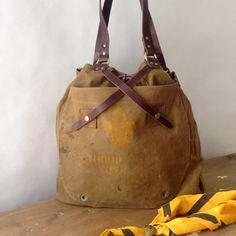 handmade vintage boy scout cross strap tote / by elke