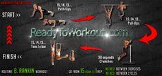 B Rankin workout routine Circuit Training Routines, Bodyweight Workout Routine, Dip Workout, Weight Training Workouts, Body Weight Training, Calisthenics Workout, Body Workouts, Hanging Leg Raises, Street Workout