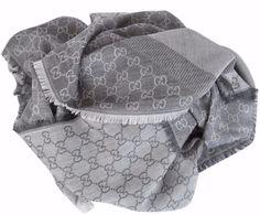 NEW Gucci Women's 281942 XL Wool Silk Grey Cream GG Guccissima Scarf Shawl #Gucci #Scarf
