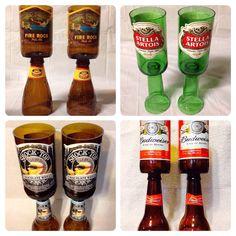 Beer Bottle Wine Glasses. Recycled Glass Bottles. on Etsy, $17.00