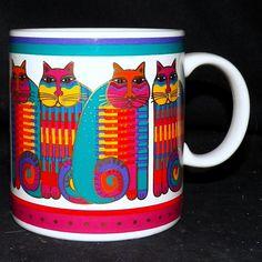 1988 Laurel Burch Rainbow Cat Cousins Striped Tabby Gold Trim Coffee Mug 14 oz