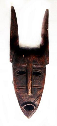 Arte africana: Máscara da etnia Dogon em madeira entalh..