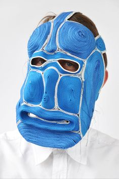 """Dutch designer Bertjan Pot's masks were the product of a failed material experiment. """"I wanted to find out if by stitching a rope together I could make a large flat carpet. Instead of flat, the samples got curvy. When I was about to give up on the carpet, Vladi came up with the idea of shaping the rope into masks. The possibilities are endless, I'm meeting new faces every day."""""""