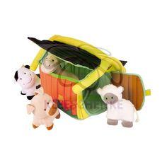 Bauernhof Tiere mit Tragetasche aus Stoff. Schaf, Hund, Kuh und Schwein mit einer kleinen Rassel im Bauch.