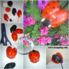 Mariquitas con cucharas de plástico - Tozapping.com Tips, Crafts, Ideas, Craft Tutorials, Recycled Crafts, Plastic Spoons, Heart Shapes, Ladybugs, Manualidades