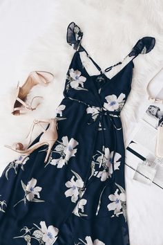 All Mine Navy Blue Floral Print High-Low Wrap Dress 8 guest outfit cold All Mine Navy Blue Floral Print High-Low Wrap Dress Casual Dresses, Casual Outfits, Summer Outfits, Wrap Dresses, Short Outfits, Summer Dresses, Mode Outfits, Fashion Outfits, Dress Fashion
