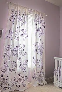 HOLY CRAP! I am totally going to do this! I already have white Ikea curtains and I've been thinking of spending hundreds on new curtains! For about $50 in craft supplies and I could have custom curtains!