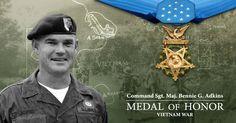 Opelika hero Bennie Adkins Medal of Honor recipient Medal Of Honor Winners, Medal Of Honor Recipients, Vietnam Veterans, Vietnam War, Us Army Infantry, Army National Guard, Green Beret, Army Veteran, Military Photos