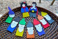 Snow White and the 7 Dwarfs - felt finger puppet DIY