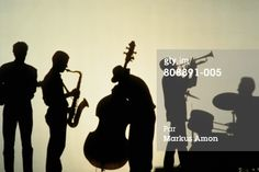 Silhouette of five players in jazz band, white background : Photo