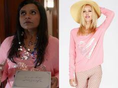 """Mindy wears this fluffy pink sweater with a sequined heart on the front in """"Wedding Crushers"""". /// Wildfox Brigitte's Heart V-..."""