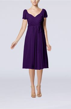 Royal Purple Party Dress - Plain Empire Queen Elizabeth Short Sleeve Chiffon Knee Length Short