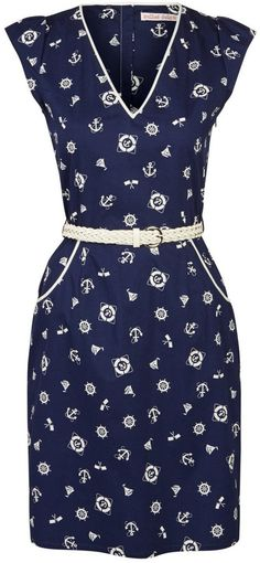 Trollied Dolly Anchor Print Dress with Belt