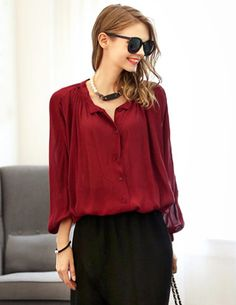Blouse Batwing Long Sleeve Loose Blouse 16.99