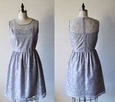 PROVENCE (Grey) : Grey lace dress, sweetheart neckline,  vintage, shirred skirt, chiffon sash, party, day, bridesmaid
