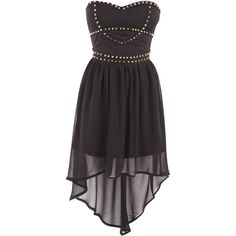 Black Dipped Hem Bandeau Dress With Stud Detai ($45) ❤ liked on Polyvore