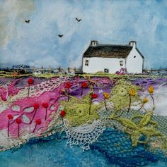 Original mixed media...This picture is 12cm x 12cm it comes mounted with a chunky mount and framed in a bespoke white wooden lightly