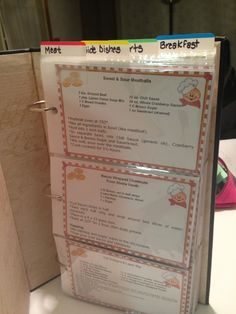 Make a recipe book by using a photo album.  I bought a 4x6 photo album from Target and downloaded free recipe cards to create this book.  Then I decorated the outside with stickers.  It turned out really cute!