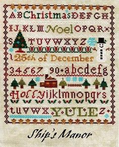 """""""Christmas Sampler"""" is the title of this Christmas cross stitch pattern from Ship's Manor with the words 'Noel, Yule and December 25th' scat..."""