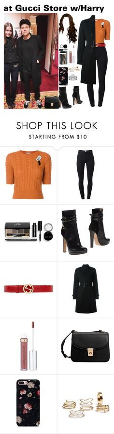 """at Gucci Store w/Harry"" by tatabranquinha ❤ liked on Polyvore featuring Miu Miu, J Brand, Bobbi Brown Cosmetics, Dsquared2, Gucci, Burberry, MANGO, OneDirection and harrystyles"