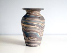 Niloak Mission Swirl, Antique Pottery Vase, Arts and Crafts Decor, Brown Ceramic Pot, Vintage American Art Pottery, Blue Mission Ware Stripe by CalloohCallay on Etsy https://www.etsy.com/au/listing/272855170/niloak-mission-swirl-antique-pottery