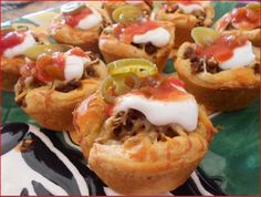 Pillsbury Grands Taco Cups I used regular biscuits and added a dash of garlic salt
