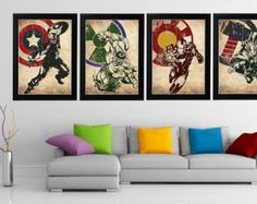 Superheroes Poster Set .Avengers8 Minimalist Poster by charmming