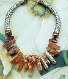 Chunky Peach Quartz Crystal Tribal Design Necklace #333 | GracefulDesigns - Jewelry on ArtFire