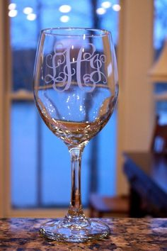 Monogrammed wine glasses! Perfect wedding present