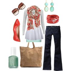 "Old Navy Womens Skinny Mini Flare Jeans + MBYM Longsleeve Anna Light Grey Top + MANGO Colour polka dot cotton scarf + Love Peace and Hope ""True Blood Jewelry Collection"" Red Leather Wrap Belt + MANGO Leather shopper bag + DV by Dolce Vita Women's Lucca Flat // via ""teal & red"" by htotheb on Polyvore"