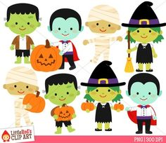 Halloween Monster Clip Art - includes blacklines! By Little Red's Schoolhouse $
