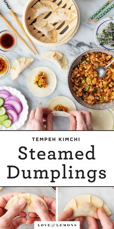 These steamed dumplings are SO delicious and fun to make! Filled with a kimchi, mushroom, and tempeh filling, they're savory, spicy, and delicious. Perfect as an appetizer or a main dish, this recipe is one of our favorite cooking projects. | Love and Lemons #appetizers #partyfood #dumplings #kimchi High Protein Vegan Recipes, Best Vegan Recipes, Lemon Recipes, Favorite Recipes, Vegan Meals, Veggie Recipes, Vegan Food, Healthy Recipes, Dumpling Filling