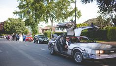 Justin Alexander for a Back To The Future wedding in Cheshire - David & Lisa Back To The 50s, Back To The Future, Doc Brown, Wedding Cars, Transportation, Lisa, David, Photography, Travel