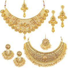 Sukkhi Glamorous LCT Gold Plated Wedding Jewellery Pearl Choker Necklace Set Combo For Women Pearl Choker Necklace, Pearl Jewelry, Necklace Set, Necklace Lengths, Diamond Choker, Jewelery, Jewellery Earrings, Indian Jewelry, Bridal Necklace