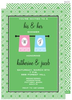 His and Hers Shower Invitations these could be cute !!